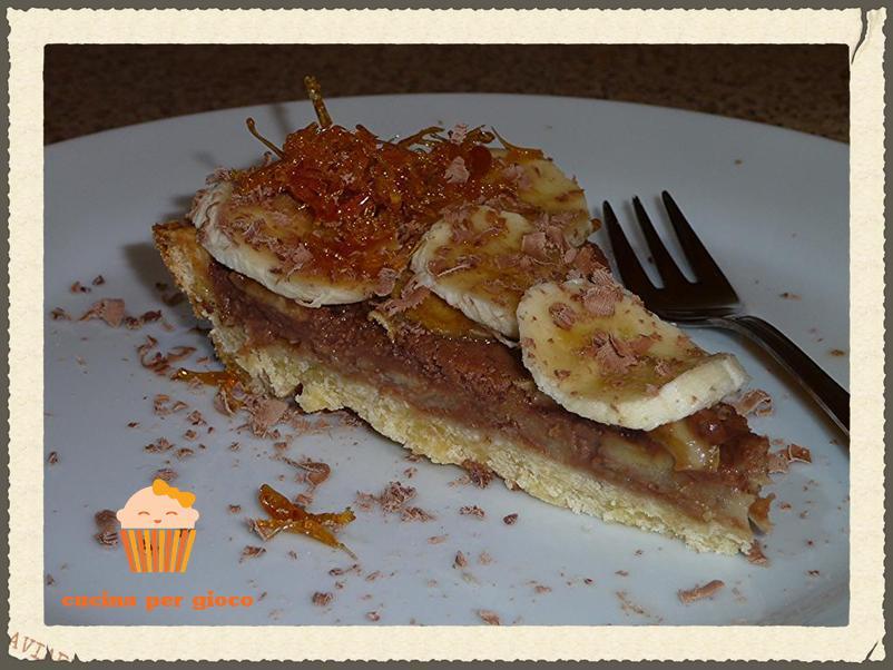 cucinapergioco crostata con cioccolata e banane