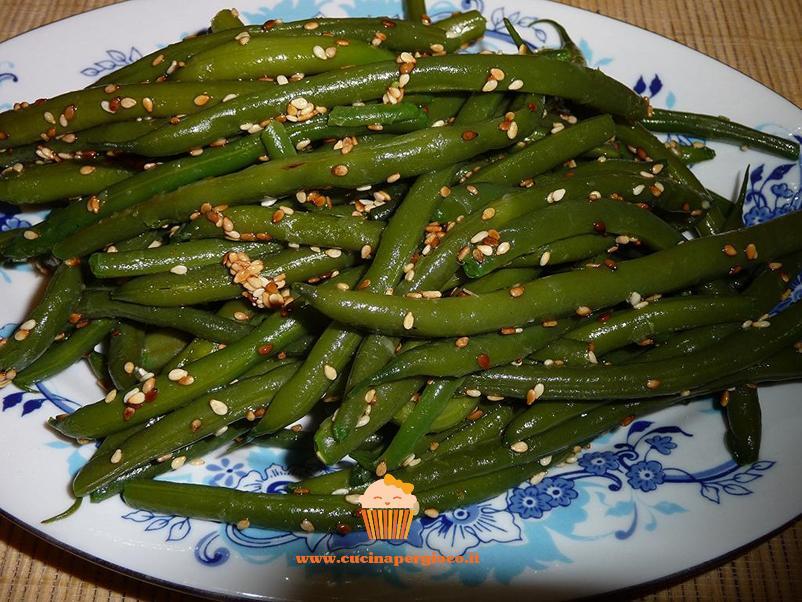 cucinapergioco fagiolini con semi di sesamo